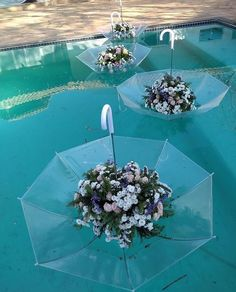 This arrangement literally turns an umbrella on its head to create floating centerpieces Wedding Stage, Diy Wedding, Wedding Flowers, Wedding Day, Church Wedding, Bouquet Wedding, Wedding Nails, Wedding Things, Wedding Reception