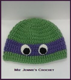 Ninja Turtle Hat  --Pattern found on knottzofyarn.blogspot.com
