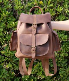 Waxed Leather Backpack - Leather Rucksack - Brown color - Mens Leather backpack - Womens backpack - three pockets leather backpack  - LARGE