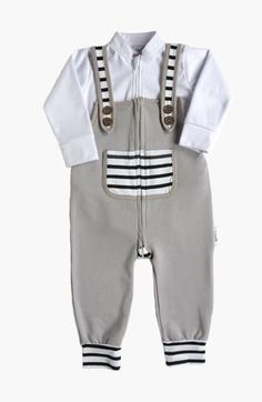 Grey Zip Overalls & Bodysuit Set, Newborn Gift Sets