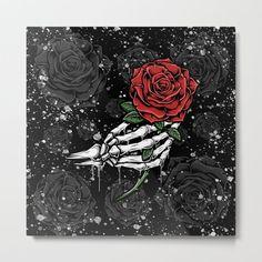 Skeleton Rose Offering Metal Art Print by Christyne - Large