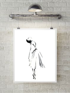 Ballerina art print, minimalist drawing art, ink drawing of ballerina, modern wall art print, ballet art, black and white by CanotStopPrints on Etsy