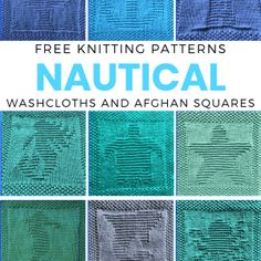 Knitted Squares Pattern, Knitted Dishcloth Patterns Free, Knitting Squares, Knitted Washcloths, Animal Knitting Patterns, Knitted Afghans, Crochet Dishcloths, Knitting Stitches, Knitting Designs