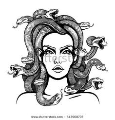 Vector Black and White Medusa Gorgon Woman Head with snakes Illustration
