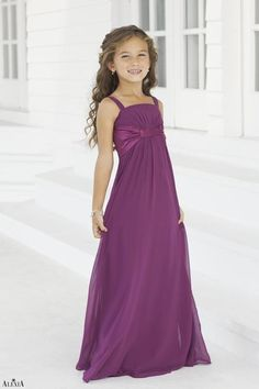 Junior version of style 2974.  Chiffon, floor length junior bridesmaids gown with charmeuse band underneath the bust.