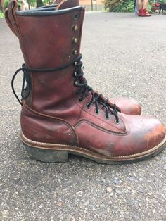 Mens  Red Wing USA Logger, Lineman, Climber Boots Steel Toe, Size 11 1/2 D #RedWing #WorkSafety