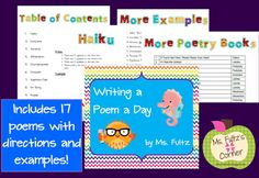 Ms. Fultz's Poetry Pack for April's National Poetry Month: includes a video of tips so you can see it in action.