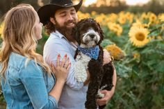 Sunflower Engagement Session - Fly Free Photography // Alberta Couples // Engagement Photography // Summer Engagement // Engagement Inspiration // Sunflower Fields // Alberta Weddings // Alberta Couples // Dogs at sessions // Dog ideas for photos // #albertaweddingsocial #flyfreephotography #couples #engagementsessionideas Engagement Couple, Engagement Session, Engagement Photos, Sunflower Fields, Free Photography, Engagement Inspiration, Our Wedding Day, Wedding Trends, Engagement Photography