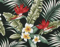"Hawaiian Upholstery Fabric Plumeria Palm Fronds Banana Leaf for Home Furnishing Table Runner Curtains Pillows, 57""Wide by the Yard - HCV9398 $16.50 per yard"