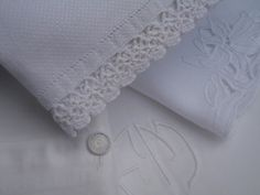 Baby clothes are like little handmade bouquets. Intricate and soft with delicate folds like petals. Junk Chic Cottage, Cottage Signs, Cottage Front Porches, White Coverlet, Pink Home Decor, Linens And Lace, Heirloom Sewing, Rose Cottage, Shades Of White