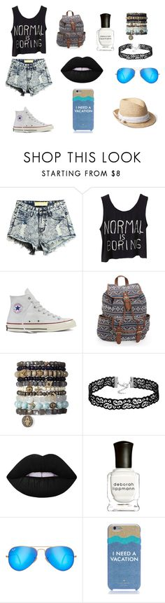 """""""My style 2"""" by rachel1705 ❤ liked on Polyvore featuring Converse, Aéropostale, Lime Crime, Deborah Lippmann, Ray-Ban, Kate Spade and Gap"""