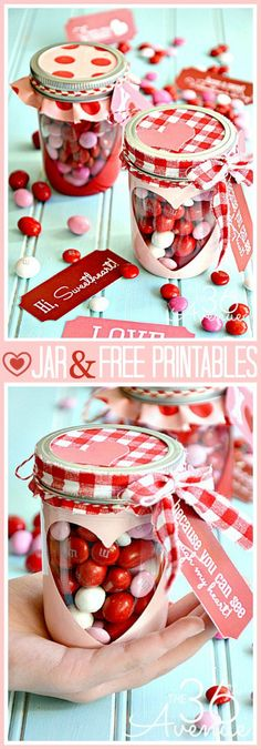 Best Mason Jar Valentine Crafts - Free Valentine Printable And Heart Candy Jar -.Best Mason Jar Valentine Crafts - Free Valentine Printable And Heart Candy Jar - Cute Mason Jar Valentines Day Gifts and Crafts Valentines Day Treats, Valentine Day Love, Valentine Day Crafts, Valentine Decorations, Printable Valentine, Printable Party, Office Decorations, Homemade Valentines, Diy Decoration