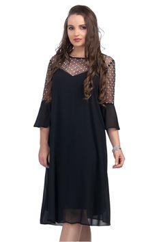 Pentru colectia de rochii elegante marimi mari am selectat o rochie neagra din voal cu insertie de plasa cu buline albe la umeri. O rochie cu croiala larga cu maneci din aceiasi plasa neagra cu buline albe pe care o regasim si pe umeri. Denise este o rochie eleganta midi confectionata pe marimi mari de la marimea 48 pana la marime 54 croita special pentru femeile plnute ce isi doresc tinute elegante de ocazie. Material: voal cu captuseala Cold Shoulder Dress, Dresses, Products, Fashion, Vestidos, Moda, Fashion Styles, Dress, Fashion Illustrations