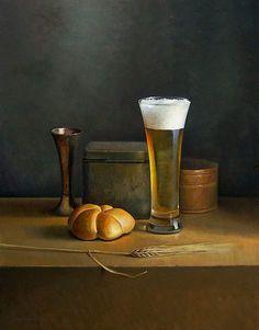 BIER EN GERST  Dit bier-stilleven heb ik geschilderd in opdracht van een bierbrouwer in Washington DC. Ik moest er enkele bierbrouwersattribuuten in stoppen, maar ik kon er ook een van mijn favoriete objecten in kwijt: metalen vaasjes...