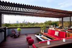 There are lots of pergola designs for you to choose from. You can choose the design based on various factors. First of all you have to decide where you are going to have your pergola and how much shade you want. Rooftop Terrace Design, Patio Design, Pergola Designs, Deck Design, Outdoor Design, Roof Design