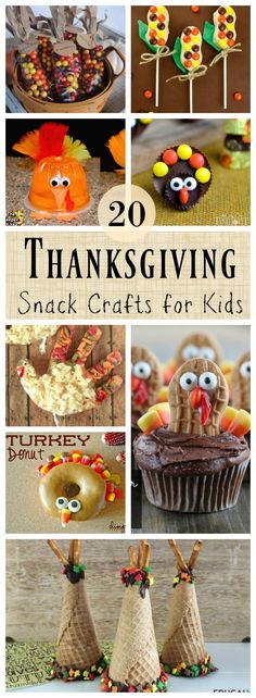 20 Fun and Deeee-lish Thanksgiving themed crafts for kids that are edible! #thanksgivingcraftforkids