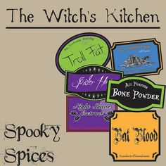 The Witch's Kitchen  Spooky Spices Digital Printable by MakeMeDigi, $2.50
