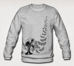 Tiger Moths Vintage Fan Print Sweatshirt by WinkinBitsyClothing
