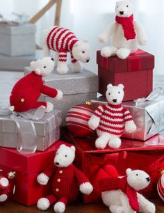 """Free Knitting Pattern for Polar Bear Toy Decorations - These adorable miniature polar bears are perfect for holiday decorating, gift decoration, and as gifts by themselves. Bears Measure: Standing version: 5"""" (13 cm) tall, Seated version: 6"""" (15 cm) tall"""
