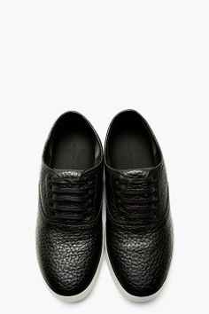 ALEXANDER WANG Black Grained Leather Asher Sneakers