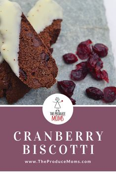 Cranberry Biscotti | Christmas Dessert Recipe | Packed with flavor and easy to make, grab this recipe and bake up the dessert to share today.  - The Produce Moms Cranberry Dessert, Cranberry Recipes, Holiday Recipes, Christmas Recipes, Great Desserts, No Bake Desserts, Delicious Desserts, Dessert Recipes, Yummy Food