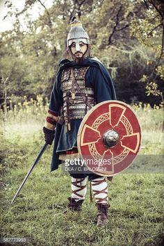 Langobard warrior with lamellar helmet lamellar armour spatha and shield Northern Italy 7th century Historical reenactment