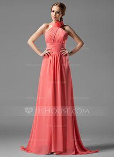 Bridesmaid Dresses - $118.99 - A-Line/Princess Halter Sweep Train Chiffon Bridesmaid Dress With Ruffle Flower(s) (007004138) http://jjshouse.com/A-Line-Princess-Halter-Sweep-Train-Chiffon-Bridesmaid-Dress-With-Ruffle-Flower-S-007004138-g4138?ver=xdegc7h0
