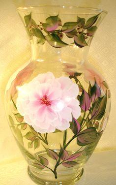 One Stroke Hand Painted Vases Painted Milk Cans, Painted Glass Vases, Painted Wine Bottles, Painted Wine Glasses, Bottle Painting, Bottle Art, Stencil Painting, Flower Art, Glass Art