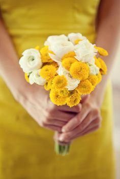 Small bouquets of white ranunculus and yellow button mums for the bridesmaids. We can substitute white lisianthus for the ranunculus to keep the cost down.