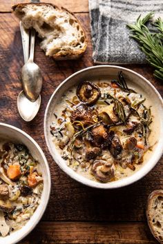 Creamy Wild Rice Chicken Soup with Roasted Mushrooms. - Creamy Wild Rice Chicken Soup with Roasted Mushrooms Roasted Mushrooms, Stuffed Mushrooms, Stuffed Peppers, Creamy Mushrooms, Mushrooms Recipes, Wild Mushrooms, Slow Cooker Recipes, Cooking Recipes, Healthy Recipes