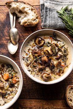 Creamy Wild Rice Chicken Soup with Roasted Mushrooms. - Creamy Wild Rice Chicken Soup with Roasted Mushrooms Fall Recipes, Soup Recipes, Cooking Recipes, Healthy Recipes, Healthy Soup, Wild Rice Recipes, Crockpot Recipes, Venison Recipes, Burger Recipes