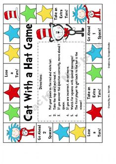 "Dr. Seuss's ""Cat with a Hat"" phonics game (we should do a Cat in The Hat reading challenge...or do this for our summer session)"