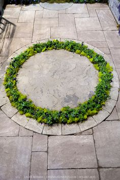 Circular planting bed bordered by a circle of flagstone paving.