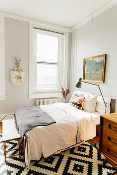 light Gray white bedroom black and white rug, crisp, clean, simple, potential guest bedroom idea. Cozy Bedroom, White Bedroom, Bedroom Apartment, Home Decor Bedroom, Apartment Living, Apartment Therapy, Bedroom Ideas, Cozy Apartment, Trendy Bedroom
