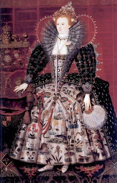 "Bess of Hardwick/Elizabeth I: ""The Hardwick Portrait"", c1599, by Nicholas Hilliard and his workshop was commissioned by Bess of Hardwick. Bess also embroidered the skirt the queen is wearing in the portrait. The elaborate design includes flowers, sea serpents, and dragons. The painting can be viewed still at Hardwick Hall."