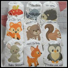 """Party Favor Bags Woodland Forest Friends Birthday or Baby shower Personalized Treat or Gift Bags 5"""" X 7"""" or 6"""" x 8""""  Qty 9 by LaPinkMoon on Etsy https://www.etsy.com/listing/118402862/party-favor-bags-woodland-forest-friends"""