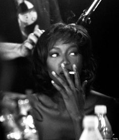Naomi Campbell backstage at Matthew Williamson, September 1999