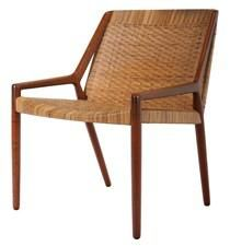Teak and cane easy chair by E. Larsen & A.B. Madsen.