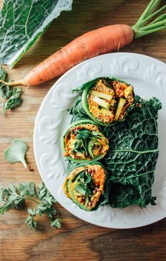 kale wraps + carrot