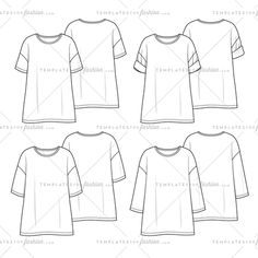 Unisex Oversized Drop Shoulder Tee with Different sleeve Lengths - Variety Fashion Sketch Template, Fashion Design Jobs, Flat Sketches, Tech Pack, Body Proportions, Dress Sewing Patterns, T Shirt Diy, Fashion Flats, Fashion Sketches