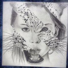 Cat woman drawing