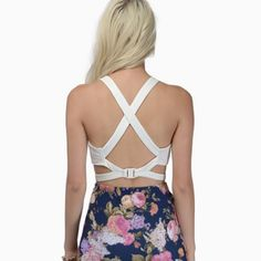 Chihiro crop top- strappy back Never worn. Polyester and spandex. Clip back. Can wear bra less! Tobi Tops Crop Tops