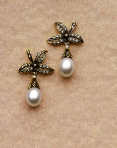 Antique Gold-filled  & Pearl Earrings