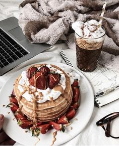 gourmet strawberry pancakes | chocolate drinks | lazy mornings | breakfast in bed