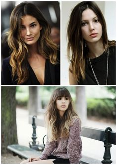 i want all three of these hair styles. ombre is the new thing: fading from dark to light.