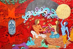 Seema Kohli-The golden womb, Mix medium on canvas with 24ct gold and silver leaf