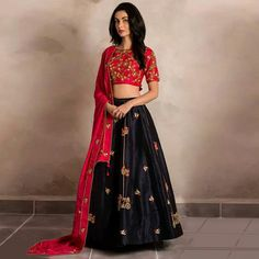 Buy Trendy Navy Blue & Red Colored Party Wear Embroidered Satin-Banglori Silk Lehenga at Rs. Get latest Lehengas for womens at Peachmode. Indian Fashion Dresses, Dress Indian Style, Indian Designer Outfits, Designer Dresses, Frock Fashion, Ethnic Fashion, Women's Fashion, Choli Designs, Lehenga Designs