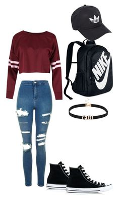 """School"" by mayaleigh04 on Polyvore featuring Topshop, Converse, NIKE and adidas"