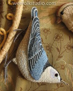 Nuthatch  by Salley Mavor, needlework artist,   WeeFolkStudio.com
