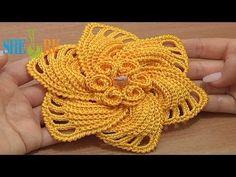 ▶ Crochet 6-Petal Flower Spirals In Center Tutorial 59 Part 2 of 2 Reverse Single Crochet Trim - YouTube